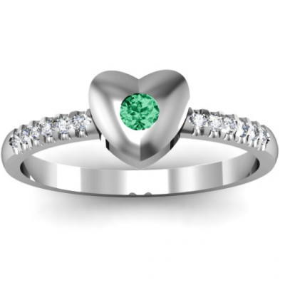 Sterling Silver Solid Heart with Micro Pave Accents Ring - The Name Jewellery™