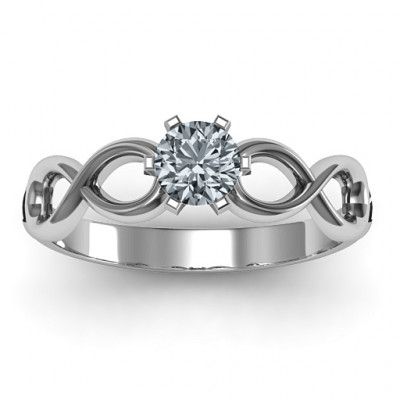 Sterling Silver Solitaire Infinity Ring - The Name Jewellery™