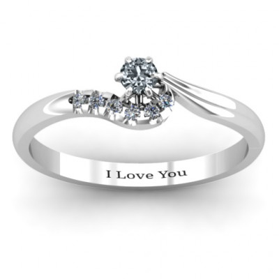 Sterling Silver Solitaire Wave Ring with Stone Accents - The Name Jewellery™