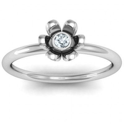 Sterling Silver Stone in 'Magnolia' Ring - The Name Jewellery™
