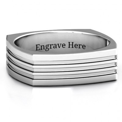Sterling Silver Stria Grooved Square-shaped Men's Ring - The Name Jewellery™