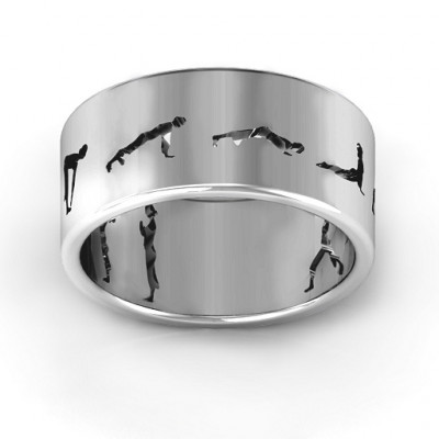 Sterling Silver Sun Salutation Pose Ring - The Name Jewellery™