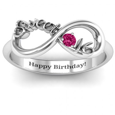 Sterling Silver Sweet 16 with Birthstone Infinity Ring - The Name Jewellery™