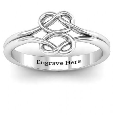 Sterling Silver Tangled Hearts Infinity Ring - The Name Jewellery™