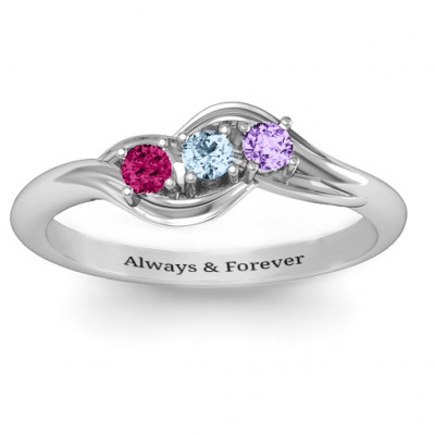Sterling Silver Three Stone Wave Ring - The Name Jewellery™