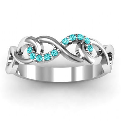 Sterling Silver Triple Entwined Infinity Ring with Accents - The Name Jewellery™