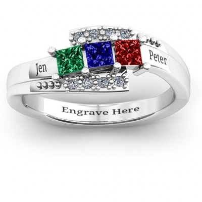 Sterling Silver Triple Princess Stone Ring with Accents - The Name Jewellery™