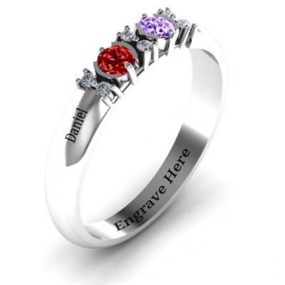 Sterling Silver Twin Circular Half Bezel Twin Accent Ring - The Name Jewellery™