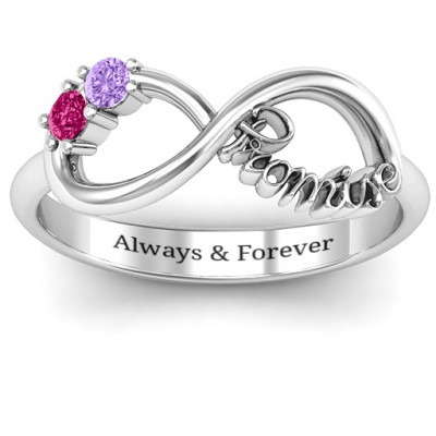 Sterling Silver Two Stone Promise Infinity Ring - The Name Jewellery™