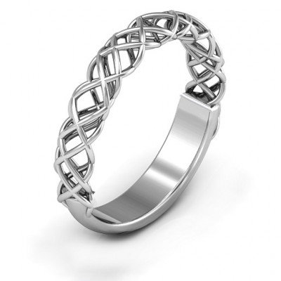 Sterling Silver Woven in Love Ring - The Name Jewellery™