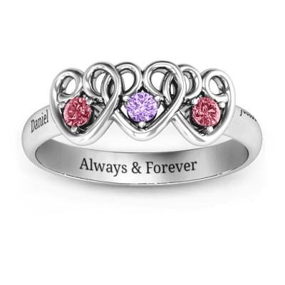 Three's Company Triple Heart Gemstone Ring - The Name Jewellery™