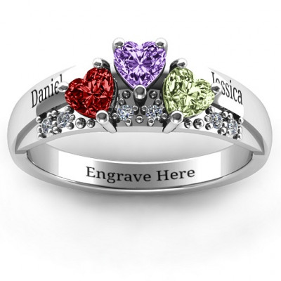 Tripartite Heart Gemstone Ring with Accents - The Name Jewellery™