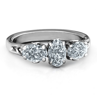 Triple Oval Stone Engagement Ring - The Name Jewellery™