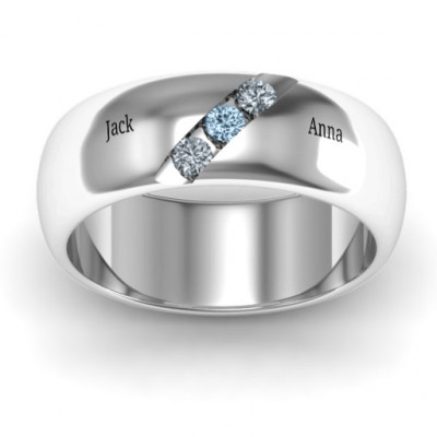 Triple Stone Grooved Men's Ring - The Name Jewellery™