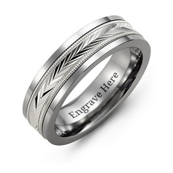 Tungsten Men's Tungsten Diamond Cut Inlay Band Ring - The Name Jewellery™