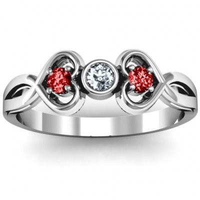 Twin Hearts with Centre Bezel Ring - The Name Jewellery™