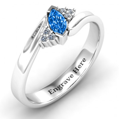 Twisted Marquise Ring with Shoulder Accents - The Name Jewellery™