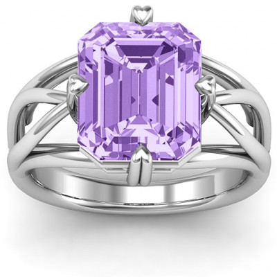 Twisted Shank Emerald Cut Stone with Filigree Ring - The Name Jewellery™
