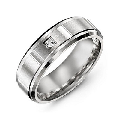 Vertical Diamond-Cut Men's Gemstone Ring with Beveled Edges - The Name Jewellery™