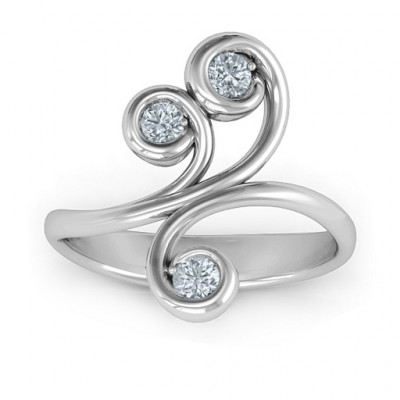 Whimsical Waves 3-Stone Ring - The Name Jewellery™