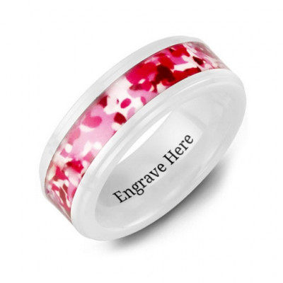 White Ceramic Ring with Colorful Camouflage Centrepiece - The Name Jewellery™