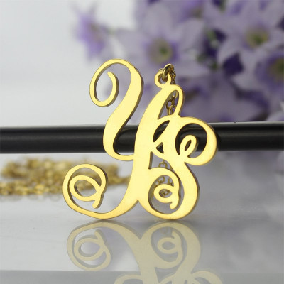 18ct Gold Plated 2 Initial Monogram Necklace - The Name Jewellery™