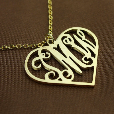 18ct Gold Plated Silver 925 Initial Monogram Personalised Heart Necklace-Single Hook - The Name Jewellery™