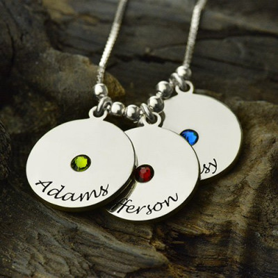 Mother's Disc and Birthstone Charm Necklace - The Name Jewellery™