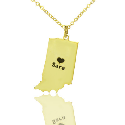 Custom Indiana State Shaped Necklaces With Heart  Name Gold Plated - The Name Jewellery™