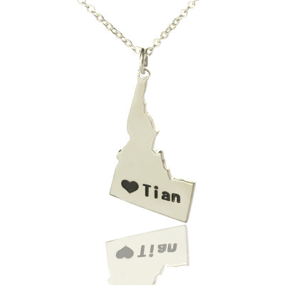 The Idaho State USA Map Necklace With Heart  Name Silver - The Name Jewellery™