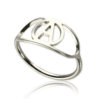 Personalised Eye Rings with Initial Sterling Silver - The Name Jewellery™