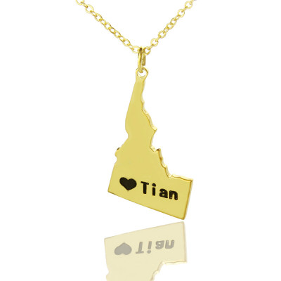 The Idaho State USA Map Necklace With Heart  Name Gold Plated - The Name Jewellery™