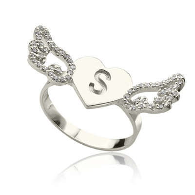 Heart Angel Wings Ring Engraved Initial  Birthstone Sterling Silver - The Name Jewellery™