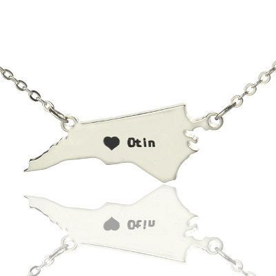 Personalised NC State USA Map Necklace With Heart  Name Silver - The Name Jewellery™