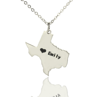 Texas State USA Map Necklace With Heart  Name Silver - The Name Jewellery™