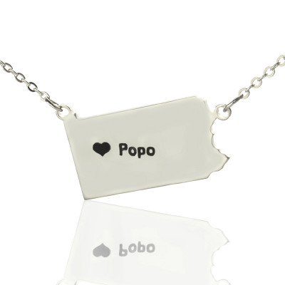 Personalised Pennsylvania State USA Map Necklace With Heart  Name Silver - The Name Jewellery™