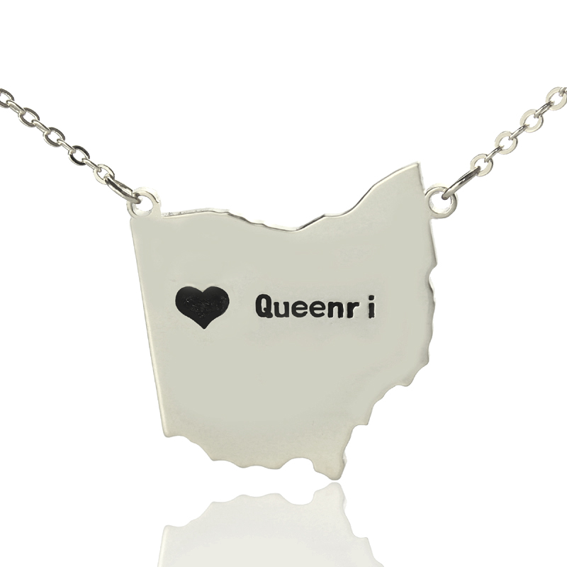 Custom ohio state usa map necklace with heart name silver custom ohio state usa map necklace with heart name silver the name jewellery aloadofball Gallery