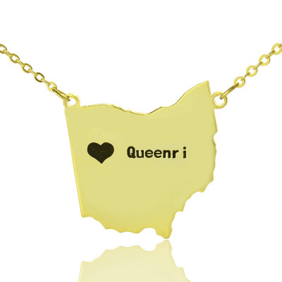 Custom Ohio State USA Map Necklace With Heart  Name Gold Plated - The Name Jewellery™