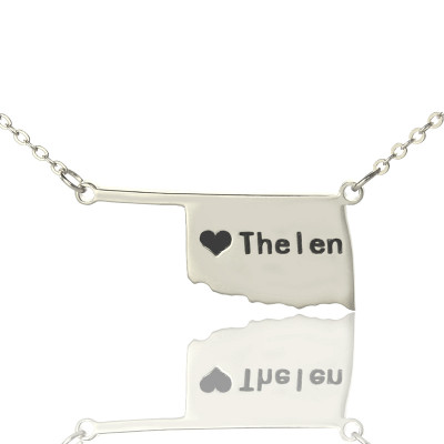 America Oklahoma State USA Map Necklace With Heart  Name Silver - The Name Jewellery™