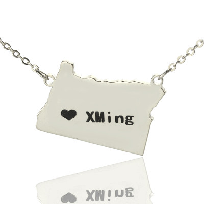 Custom Oregon State USA Map Necklace With Heart  Name Silver - The Name Jewellery™