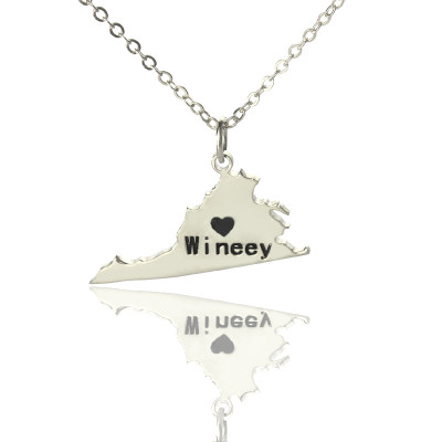 Search tag map virginia state usa map necklace with heart name silver the name jewellery gumiabroncs Gallery