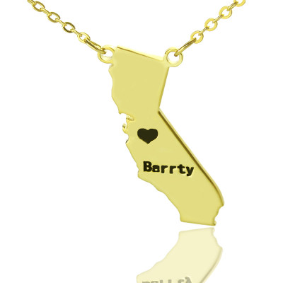 California State Shaped Necklaces With Heart  Name Gold Plated - The Name Jewellery™