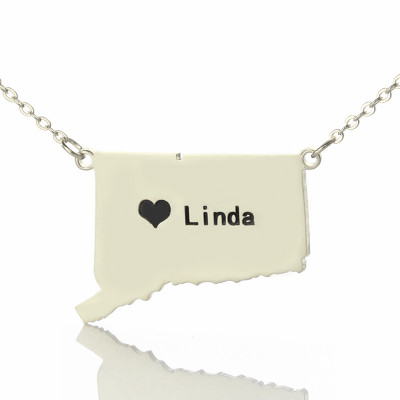 Connecticut State Shaped Necklaces With Heart  Name Silver - The Name Jewellery™