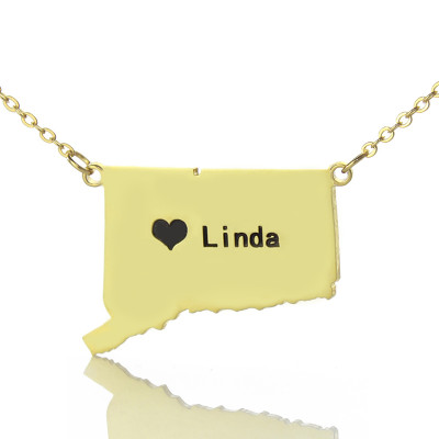Connecticut State Shaped Necklaces With Heart  Name Gold Plate - The Name Jewellery™