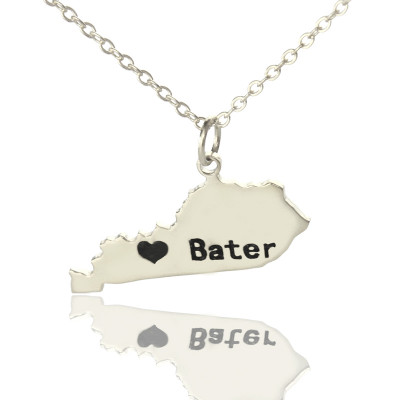 Custom Kentucky State Shaped Necklaces With Heart  Name Silver - The Name Jewellery™