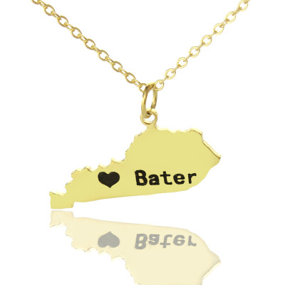 Custom Kentucky State Shaped Necklaces With Heart  Name Gold Plated - The Name Jewellery™