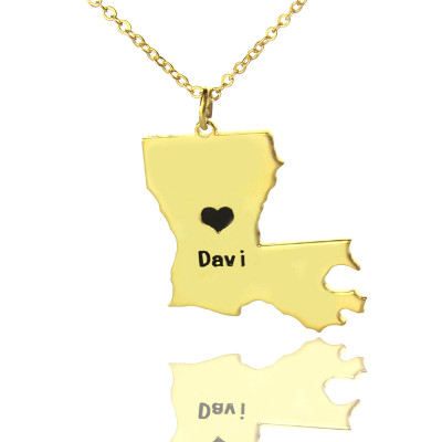 Custom Louisiana State Shaped Necklaces With Heart  Name Gold Plated - The Name Jewellery™
