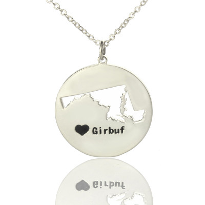 Custom Maryland Disc State Necklaces With Heart  Name Silver - The Name Jewellery™