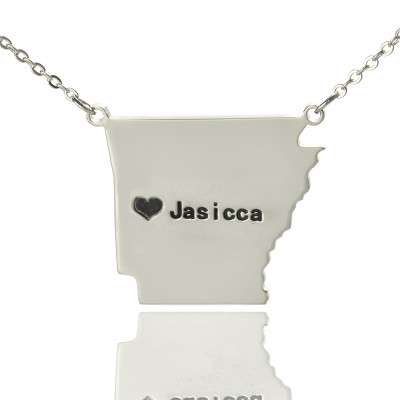 Custom AR State USA Map Necklace With Heart  Name Silver - The Name Jewellery™
