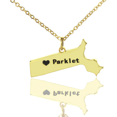 Massachusetts State Shaped Necklaces With Heart  Name Gold Plated - The Name Jewellery™